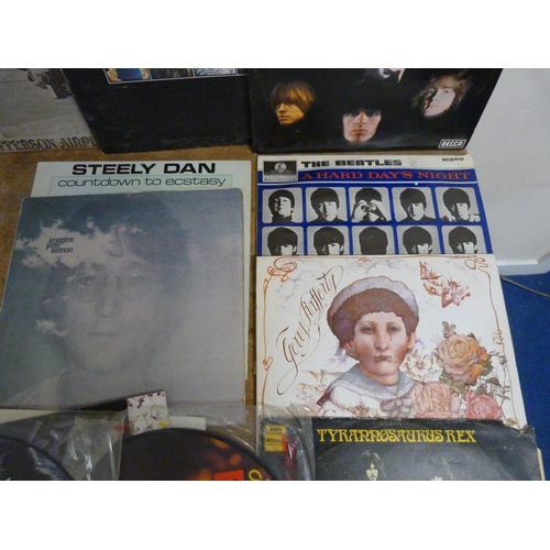 50 - Two large boxes of LPs to include The Beatles, John Lennon, T. Rex, Elvis picture disc, etc.