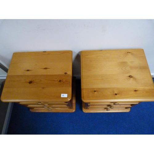 51 - Pair of modern pine bedside drawers.
