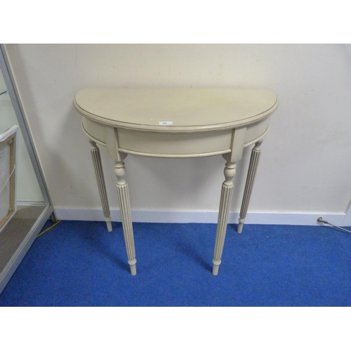 52 - Modern painted demi-lune table.