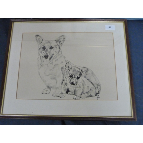 58 - Collection of prints and pictures to include Corgi dogs etc