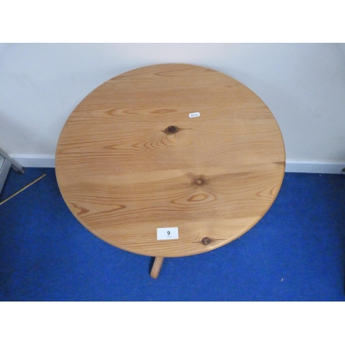 9 - Small pine pedestal table.