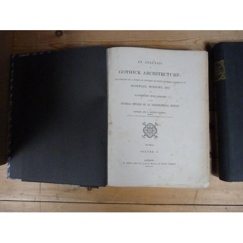 196 - <strong>BRANDON R. & J. A.  </strong>An Analysis of Gothick Architecture. 2 vols. Many plates. Q...
