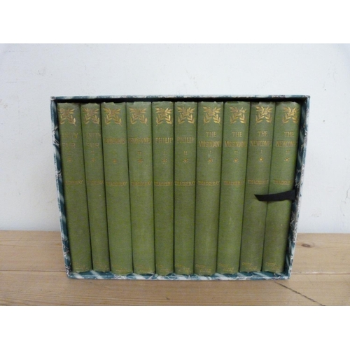 293 - <strong>THACKERAY W. M.</strong>Works. 10 vols. in orig. green cloth & later slip ca...