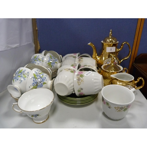 2 - Royal Seagrave part tea, another floral tea set, and a three-piece gilt Czechoslovakian tea set....