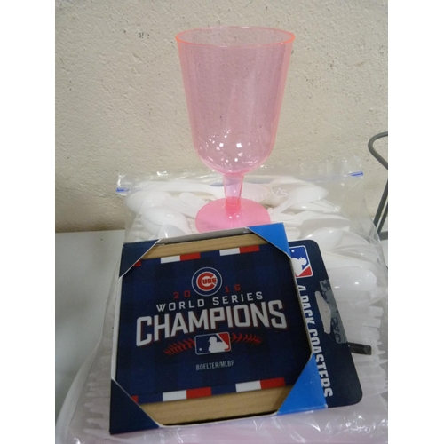 20 - White ashet, plastic cutlery and glasses, milk bottle holder etc....