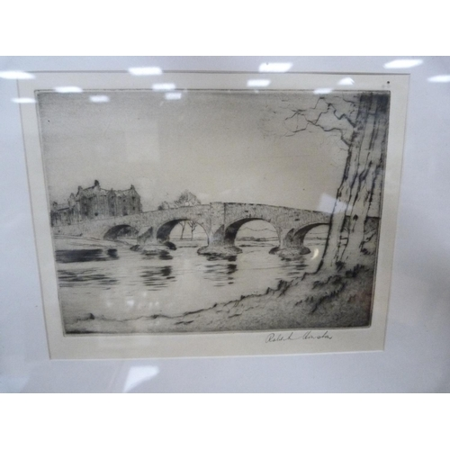 26 - ROBERT HOUSTON, etching, and another of Prince Charles Monument, Glenfinnan.  (2)...