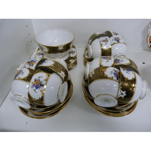 29 - Tuscan part tea set decorated with roses and gilt pattern, and another, similar.  ...