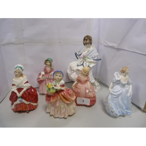 3 - Royal Doulton figures comprising, 'Peggy' HN 2038, 'Rose' HN 1368, 'Cissie' HN 1809, 'Bo Peep' HN 18...