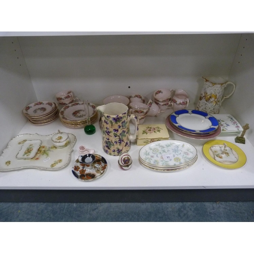 31 - Assorted ceramics including a Tuscan pink tea set, Crown Burslem water jug, and various other dishes...