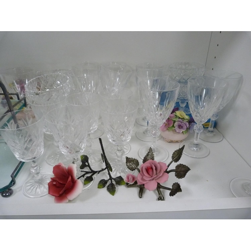 33 - Assorted glassware including wine glasses, cake stand, also ceramic posies....