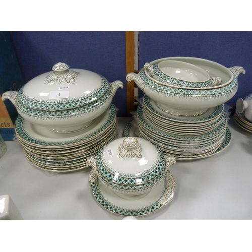 4 - Burslem 'Prince Charlie' part dinner service decorated with green and gilt....