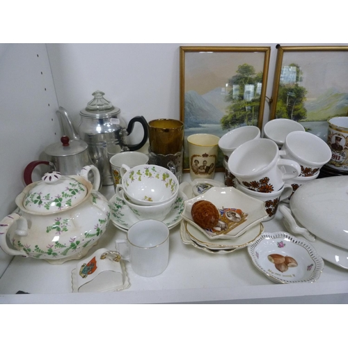 47 - Eight cups and saucers, stoneware jar, pictures, jug, Coronation wares etc....