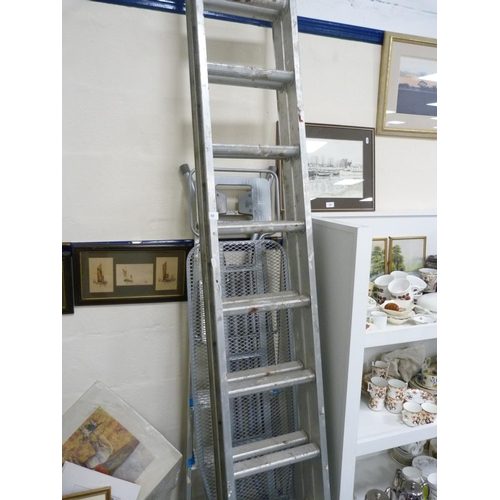 50 - Two-section ladder, set of steps, ironing board....
