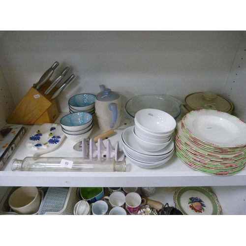 53 - Assorted kitchenalia including knives, bowls, plates etc....