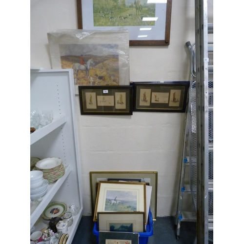 55 - Two hunting prints, two maritime framed sets of pictures, assorted frames, and prints....
