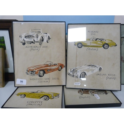 56 - Assorted automotive prints, nude on beach etc....
