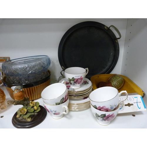 58 - Assorted glassware, Gainsborough part tea set, needlepoint wall hanging, jug etc....