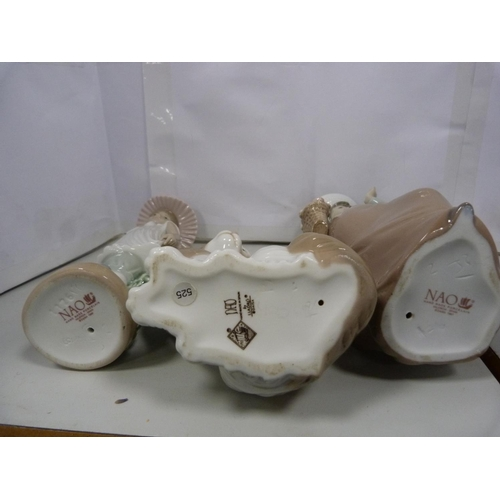 6 - Two Nao figures, a cat, Poole Pottery penguin, and a dolphin. (5)...