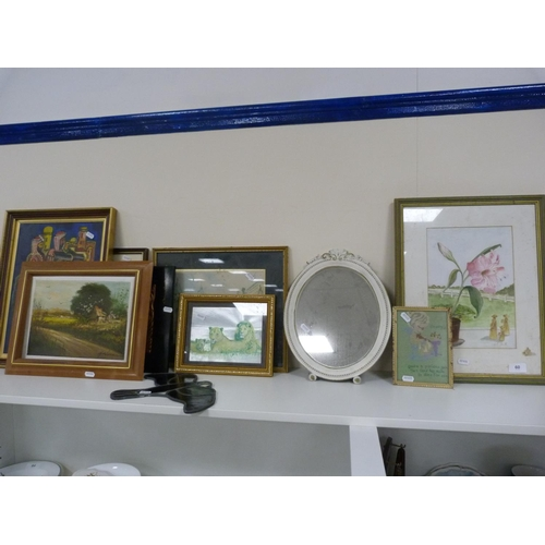 60 - Assorted pictures, and a mirror....