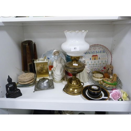 61 - Converted paraffin lamp, clothes brushes, mantel clock, ramekins, and figures etc....