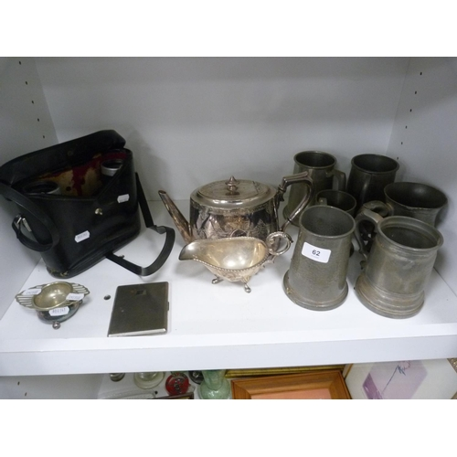 62 - Pewter tankards, teapot, set of binoculars, cigarette case etc....