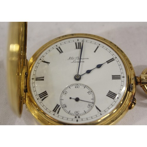 "Benson keyless lever watch No6468 ""The Field"" with overcoil spring in 18ct gold half hunter case. 1912. 50mm diameter."
