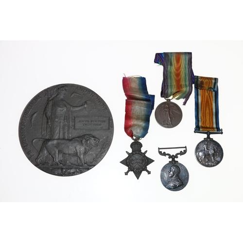Medals of 200328 Company Sergeant Major Joseph Jefferson Twentyman of the 5th Highland Light Infantry comprising George V Distinguished Conduct medal [200328 C G MJR J J TWENTYMAN 5/HIGH L I], WWI war medal and Victory medal [2 LIEUT J J TWENTYMAN], 1914-15 star [1779 SJT J J TWENTYMAN HIGH LI] and Death Plaque [Joseph Jefferson Twentyman], (5)