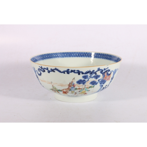 13 - 19th century Chinese porcelain bowl decorated with figures, 26cm diameter