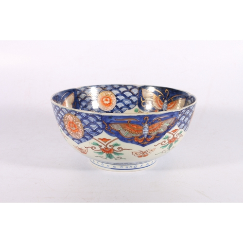 14 - 19th century Oriental porcelain bowl decorated with hand painted garden scene with insects, 24cm dia...
