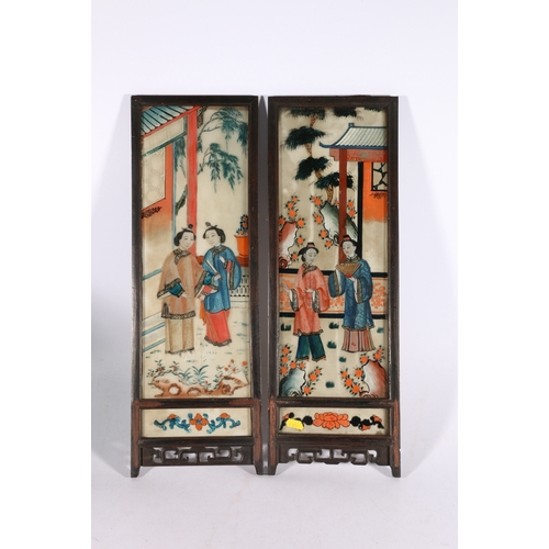 22 - Pair of early 20th Century Chinese back paintings on glass depicting women in a garden setting, wood...