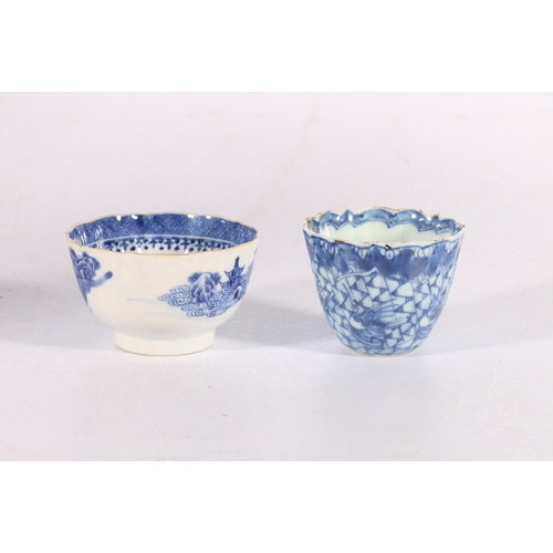 27 - Oriental style blue and white tin glazed tea bowl and a Willow pattern tea bowl, (2)