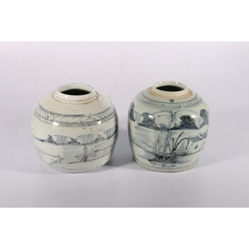3 - Two Chinese provincial blue and white ginger jars decorated with landscape scenes, 15cm tall
