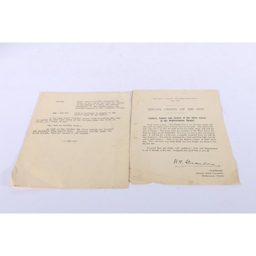 44 - Allied Forces Headquarters 1945 Specail Order of The Day sheet signed by Field Marshal H R Alexander...