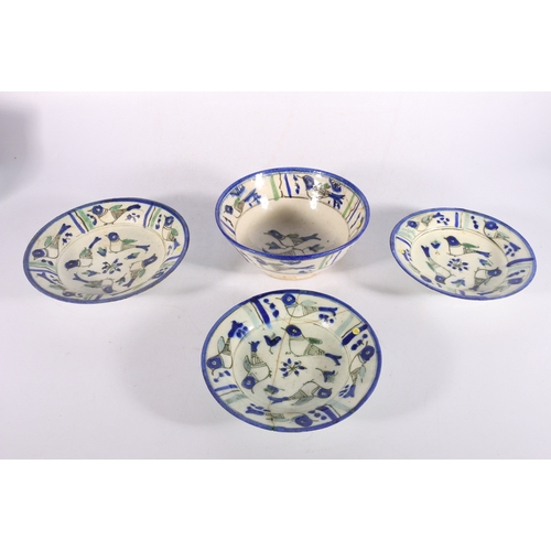 5 - Four 20th century Iranian dishes, all decorated with birds and flowers, to include a pair of dishes,...