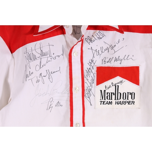 55 - Motor racing team autographed shirt for Team Harper sponsored by Marlboro with 19 signatures includi...