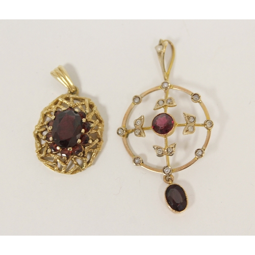 14 - Gold pendant with pearls and garnets and a similar pendant. (2).  ...