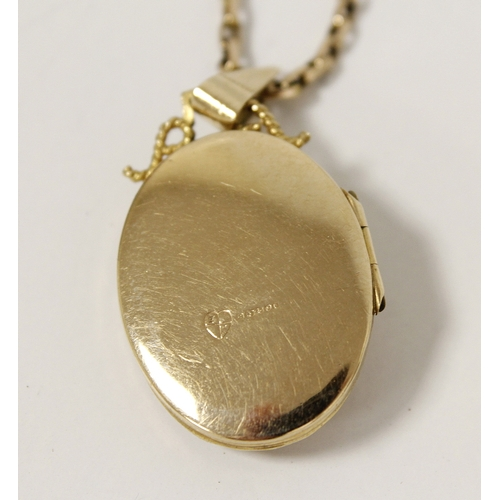 15 - 9ct gold pendant of openwork tapering shape and a similar oval locket with necklet. 16g....