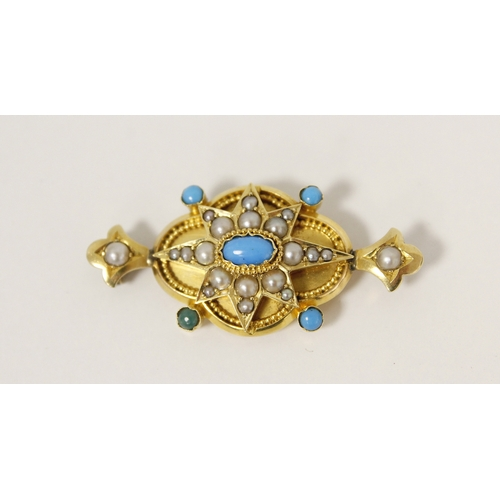 16 - Victorian gold brooch with a quatrefoil of pearls and turquoise, probably 15ct. 7g. ...