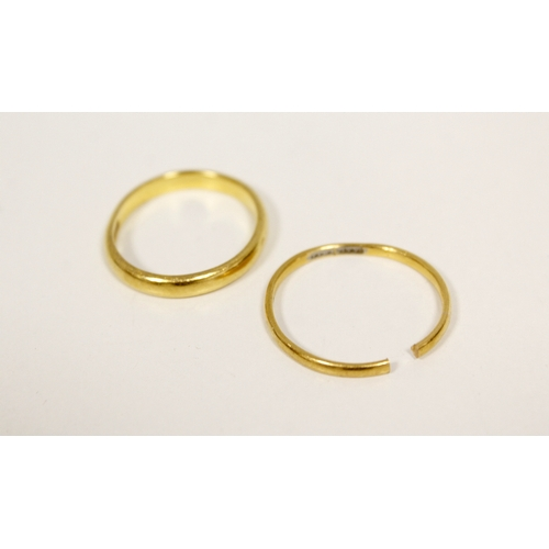 17 - Two 22ct gold band rings. (2). 6g....