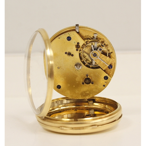 31 - Lever watch, unsigned three quarter plate with compensated balance in 18ct gold, o.f case, 1872, 46m...