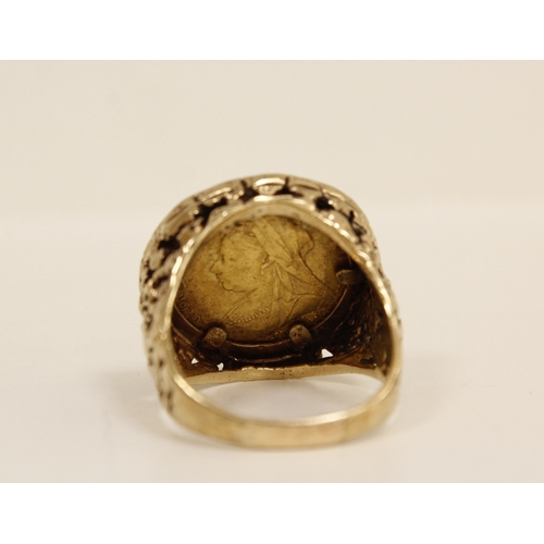 35 - Sovereign ring, 1899 detachable 9ct gold pierced mount. Gross 20g. Size 'X'....
