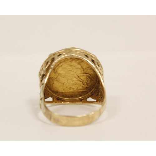 36 - Sovereign ring 1889, claw set in 9ct gold, 15g. Size 'W'....