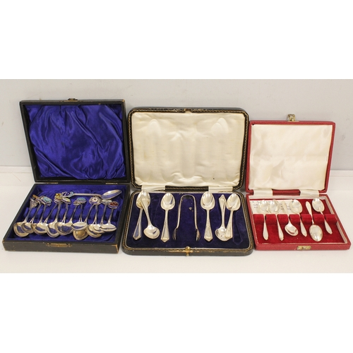 48 - Two sets of six spoons, tea and coffee and thirteen souvenir spoons. 10 1/2oz....