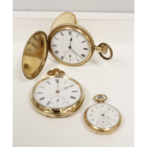 7 - Two rolled gold keyless watches and another smaller. (3)....