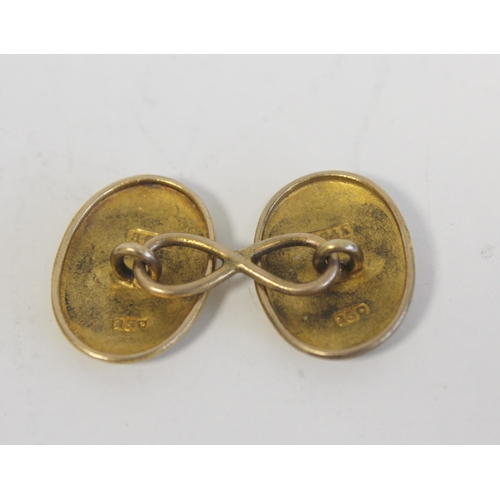 22 - Pair of Victorian gold domed oval cufflinks, monogrammed J.G. by Grinsell & Sons, '15c' 8.4g and...