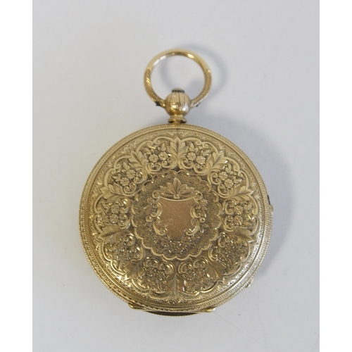32 - Lady's lever watch, unsigned with gold balance and engraved dial in 18ct gold o.f. case, 1886, 37mm....