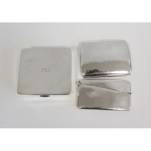 45 - Two silver cigarette cases, a card case and four pierced condiments. 9oz....