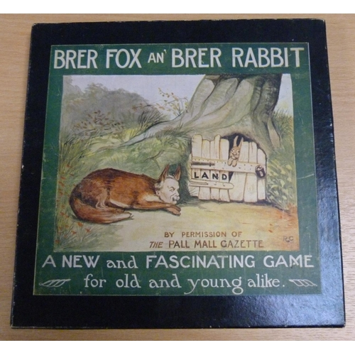 "BRER FOX AN` BRER RABBIT.  A precursor to Monopoly. ""A New and Fascinating Game for old and young alike"". Printed and Published by the Newbie Games Co. (Annan, Dumfriesshire, Scotland). Orig. square box with pictorial label (depicting Mr Fox as Lloyd George) containing fldg. heavy paper playing board, instruction leaflet, 2 dice, 4 playing pieces & the relevant currency, property & play cards. Based on the 1904 US ""Landlords Game""  (patented by Lizzie Magie, a follower of the political economist Henry George) this game was first introduced to the UK when produced in 1913 by the local Liberal party committee (thus the use of Lord George as the reforming fox!), under its new name but manifestly being the same game.  Various successors to the Landlords Game led to the first publication of Monopoly.  Brer Fox an` Brer Rabbit apparently was sold for a nominal one shilling and was obtainable from Miss Clarke, Newbie, Annan."