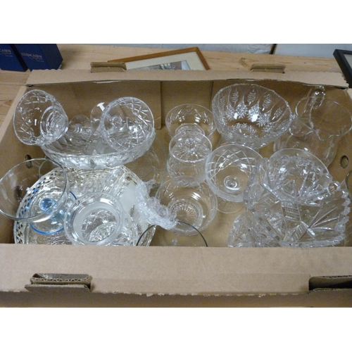 13 - Collection of wine glasses, comports, jug and bowls