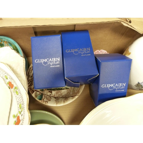 15 - Three Glencairn glass vases, boxed and other decorative ceramics